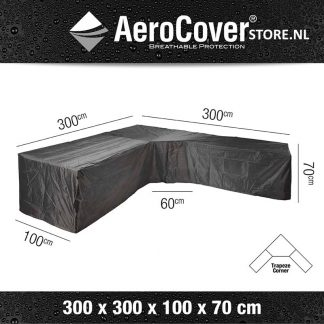 L-vorm afdekhoes met trapezehoek 300x300 voor loungeset