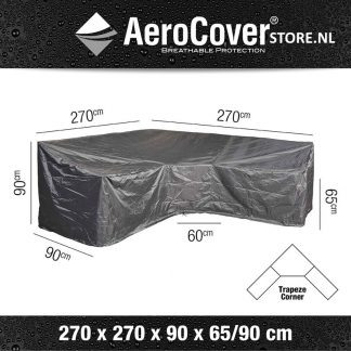 L-vorm afdekhoes met trapezehoek 270x270 voor lounge-diningset